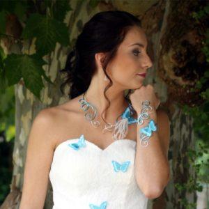 Bijoux mariage papillon blanc bleu turquoise