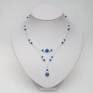 Collier mariage ivoire et bleu royal