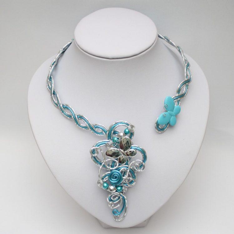 Collier mariage papillon argent bleu turquoise