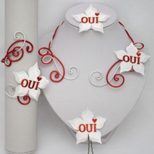 Bijoux mariage oui blanc rouge