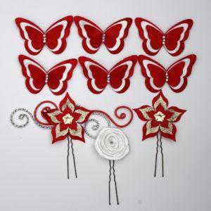Epingles à cheveux mariage fleur papillon rouge blanc