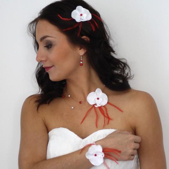 Bijoux mariage orchidée blanc rouge