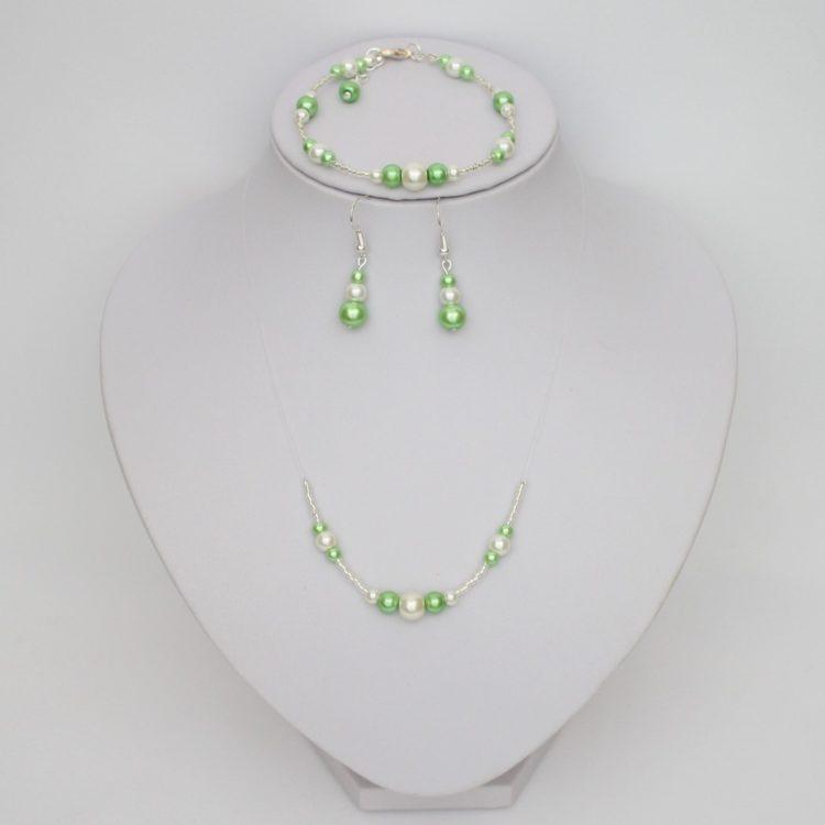 Bijoux mariage ivoire clair et vert tilleul