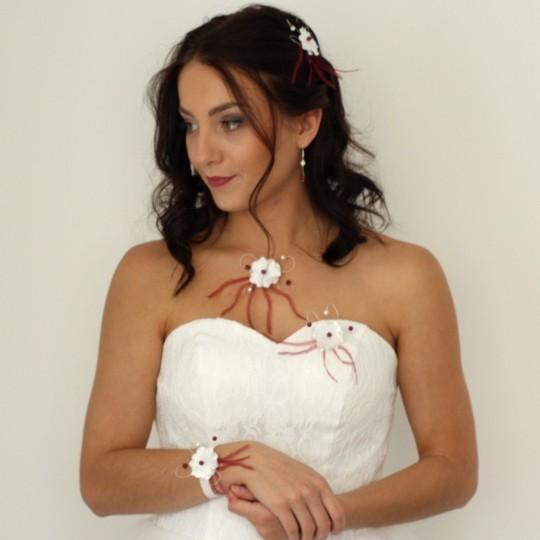 Parure mariage fleur ivoire bordeaux