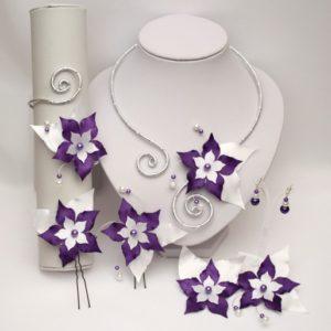 Parure mariage fleur blanc violet