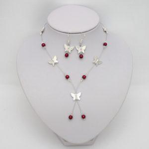 Bijoux mariage papillon bordeaux