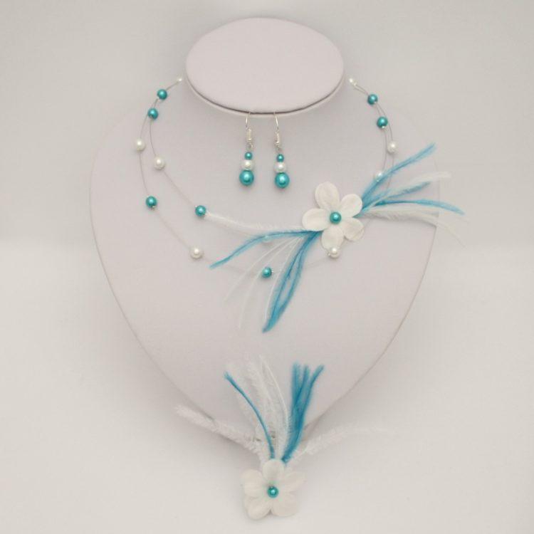 Bijoux mariage fleur turquoise blanc
