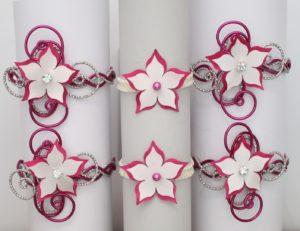 Bracelets mariage fleur ivoire fuchsia