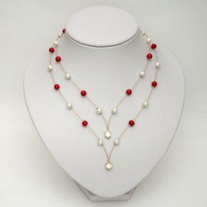 Collier mariage rouge et blanc