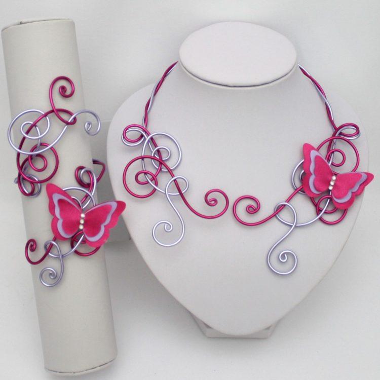 Bijoux mariage papillon parme fuchsia