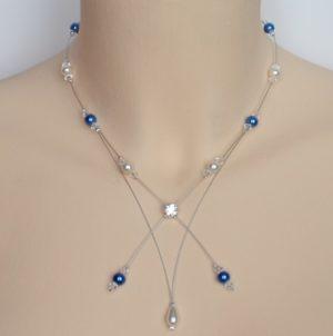 Collier mariage blanc et bleu royal